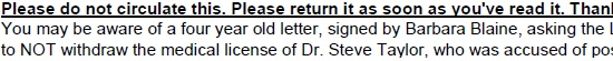 Barbara Blaine, David Clohessy 2012 email re: Dr. Steve Taylor: SNAP